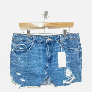 Zara Ripped Denim Mini Skirt
